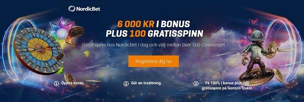 Ny svensk NordicBet casinobonus på 6000 kr + 100 freespins